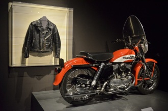 21 year old Elvis Presley's 1956 Harley, bought 4 days after recording Heartbreak Hotel, and J.C. Penney's ~1960 leather jacket worn by Elvis