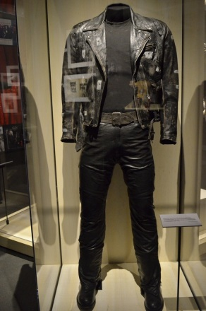 Leather motocycle jacket and full costume worn by Arnold Schwarzenegger in the Harley-riding cyborg in Terminator 2: Judgement Day, 1991