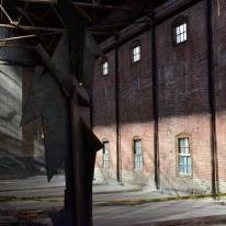 This space will house a rock climbing wall if permits are ever issued by the city (long process)