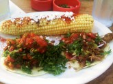 Grilled Corn on the Cob, Carnitas Street Tacos