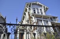Stately home surrounded by wonderful wrought-iron fence