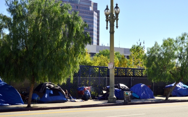 Homeless camp street-side