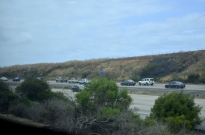 Light traffic on southbound 5 Freeway that came to a dead stop a few miles further on.