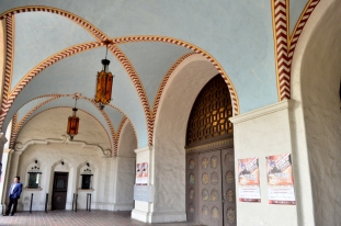 Ornate ceiling at Mission Playhouse