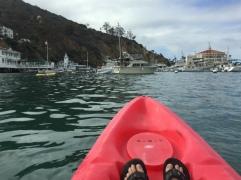 Kayaking toward Avalon's historic Casino building