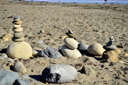 Stacked rocks on Cambria's beach