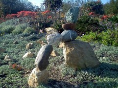 Stacked rock sculpture at L.A. County Arboretum