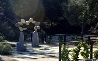 Stacked rock sculptures at Descanso Gardens