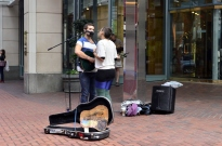 Street musicians, great voices