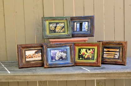 Framed Photos. Photos taken by SueBee, mattes and frames distressed and hand-painted by SueBee