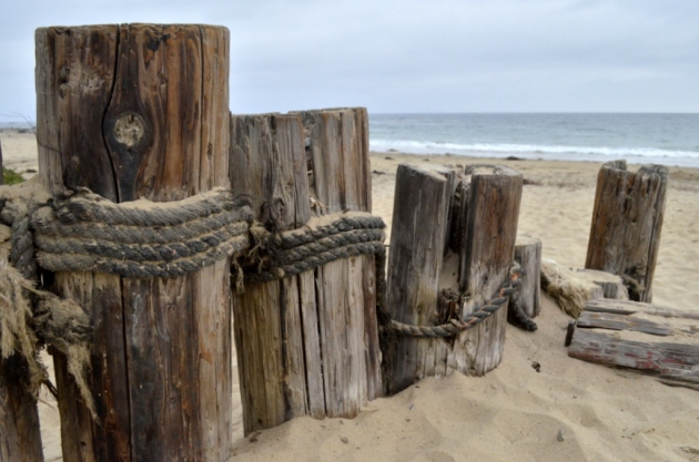 Wooden Piers in Sand