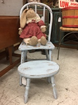 Child's chair and stool, and floppy bunny