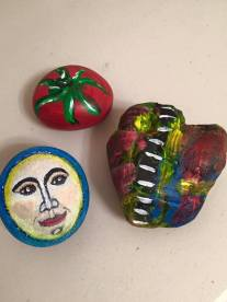 I now enjoy odd shaped rocks, and let the shape inspire the abstract. The round ones lend themselves to certain pictures