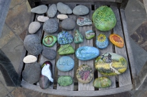 Collection of rocks from Cambria, various ones painted