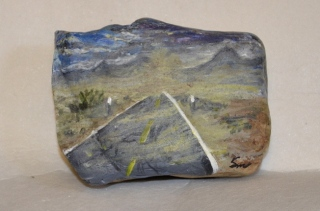 Rock painting of my photo in Nevada desert