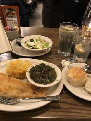 Yummy! Haddock, greens, hash brown potato casserole
