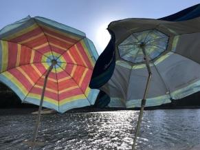 Umbrellas were getting battered by a stiff breeze