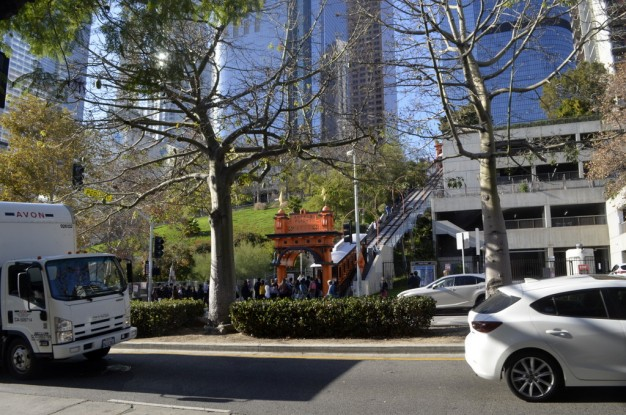 Noticing the line waiting for a ride on Angel's Flight, the funicular train up the hill.