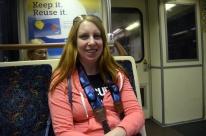 Kat, on the subway, finally!
