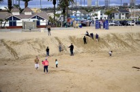Large sand berm to hold off the waves