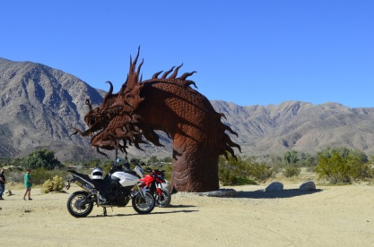 Picture with motorcycles shows size of sculpture!