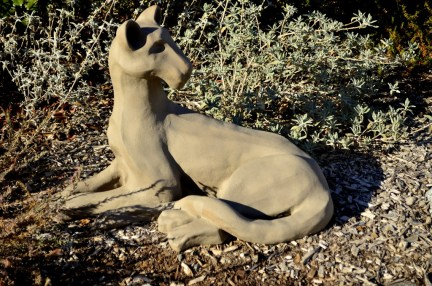 Lioness - What's That?, painted ceramic by Maureen Wheeler 2018